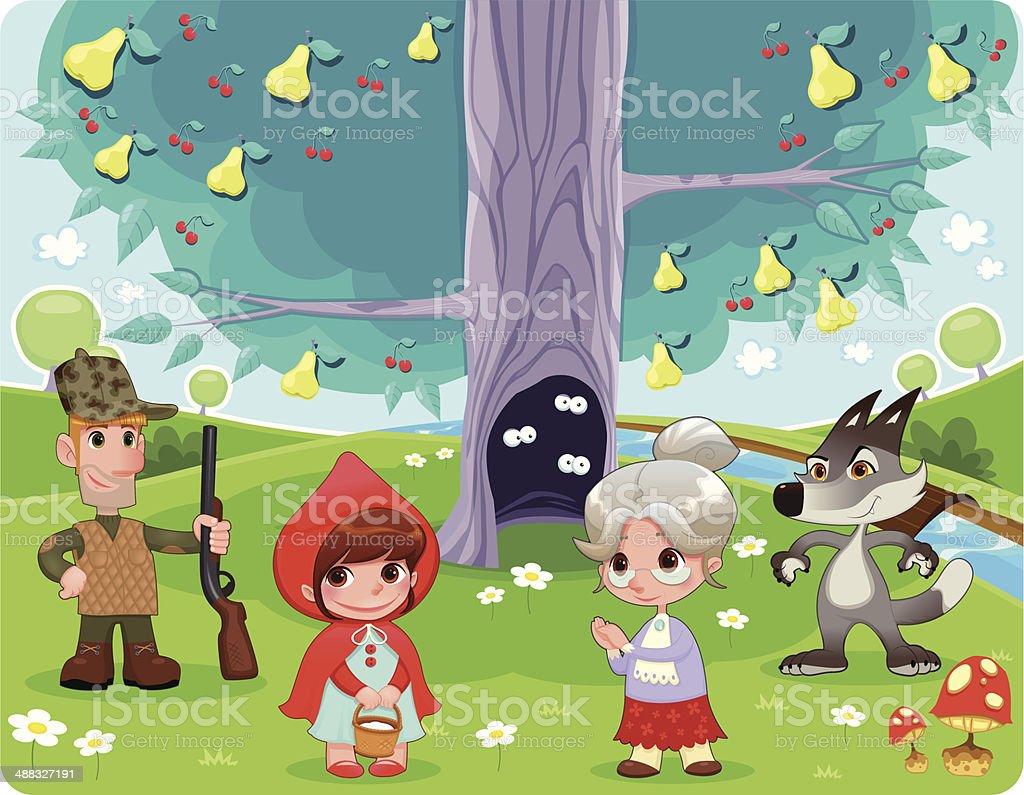 Little Red Hiding Hood scene. royalty-free stock vector art