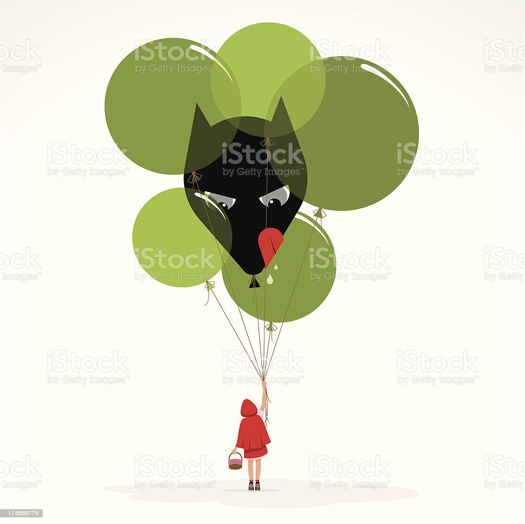 Little red hood wolf balloons girl evil illustration vector vector art illustration