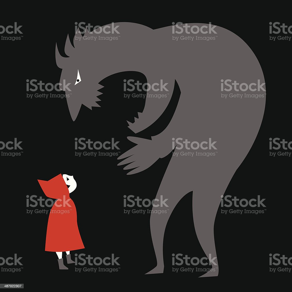 Little Red Riding Hood and a predator vector art illustration