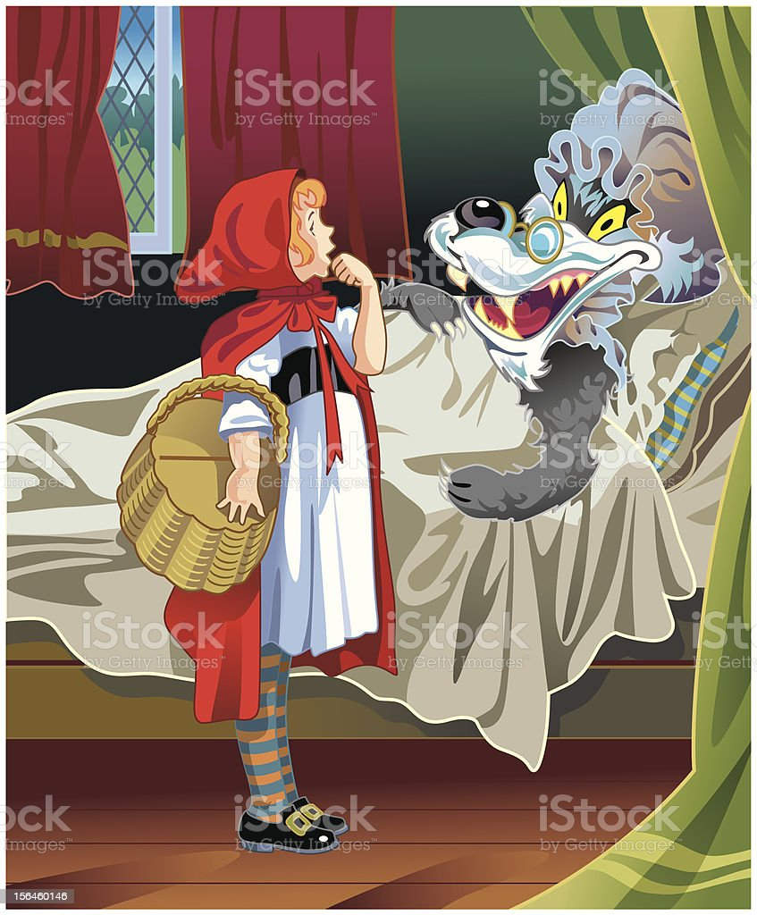 Little Red Riding Hood and Big Bad Wolf royalty-free stock vector art