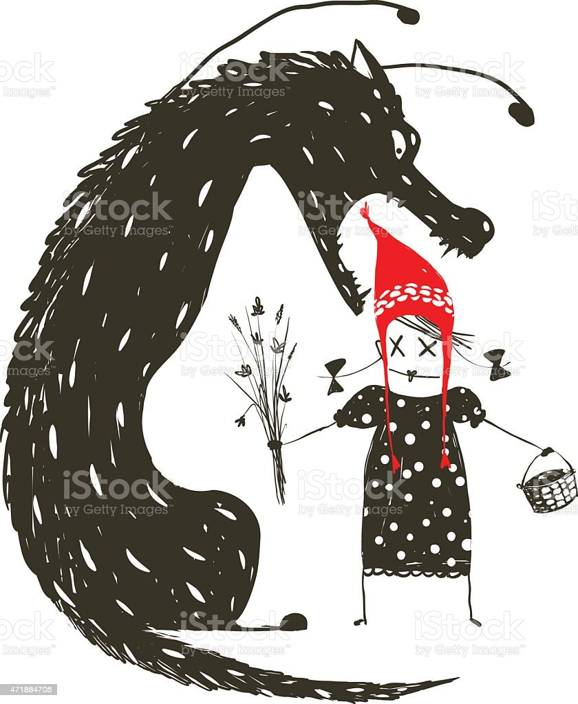 Little Red Riding Hood and Black Scary Wolf vector art illustration