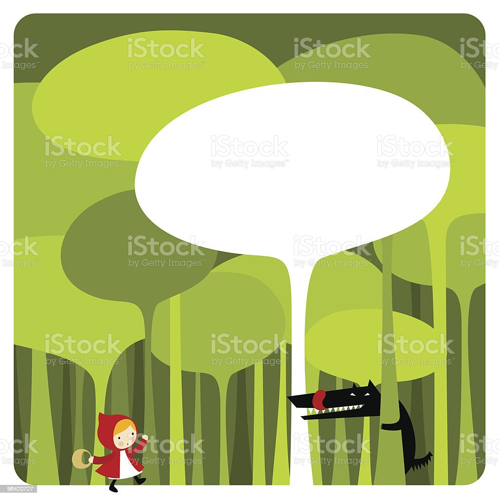 Little Red Riding Hood. cute kawaii illustration vector royalty-free stock vector art
