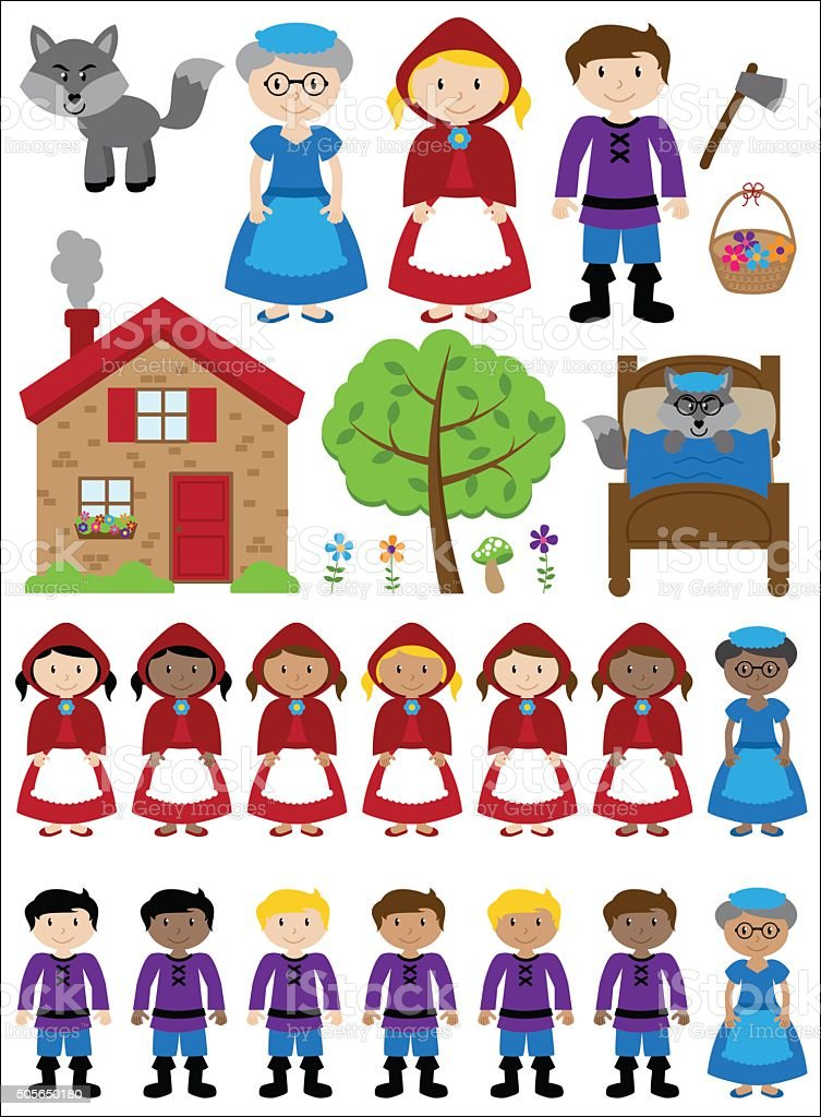Little Red Riding Hood Themed Vector Collection vector art illustration