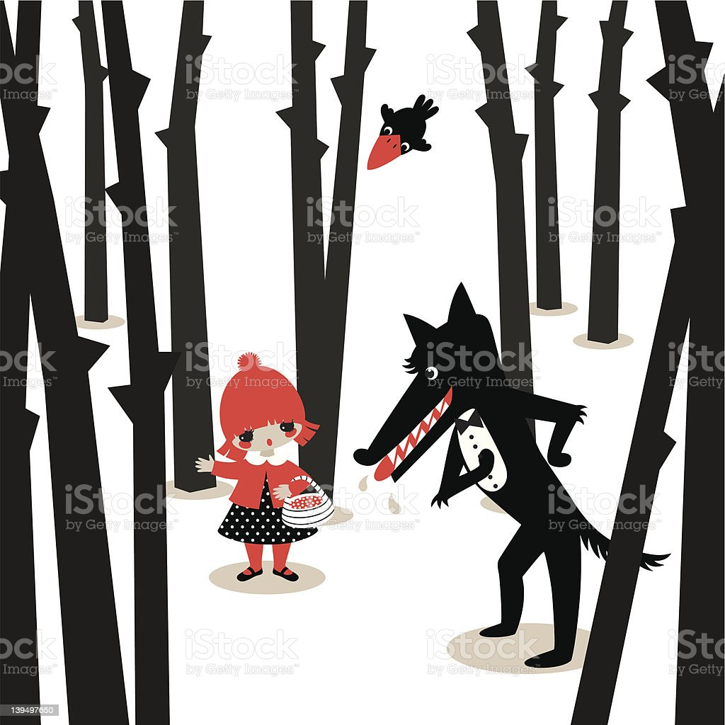 Little red riding hood. vector art illustration