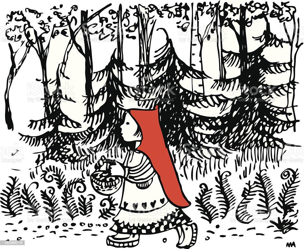 Little Red Ridinghood vector art illustration