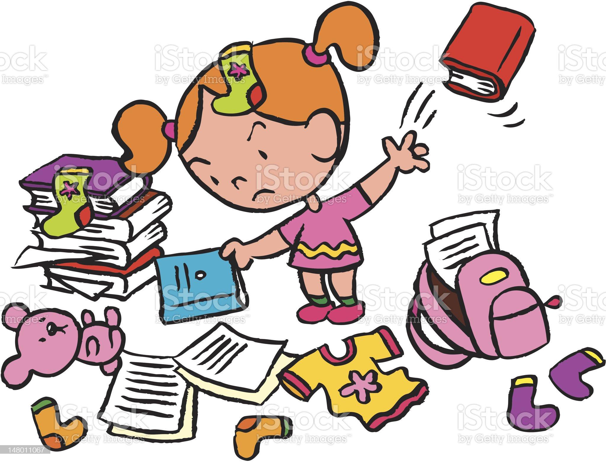 Little schoolgirl in a messy room royalty-free stock vector art