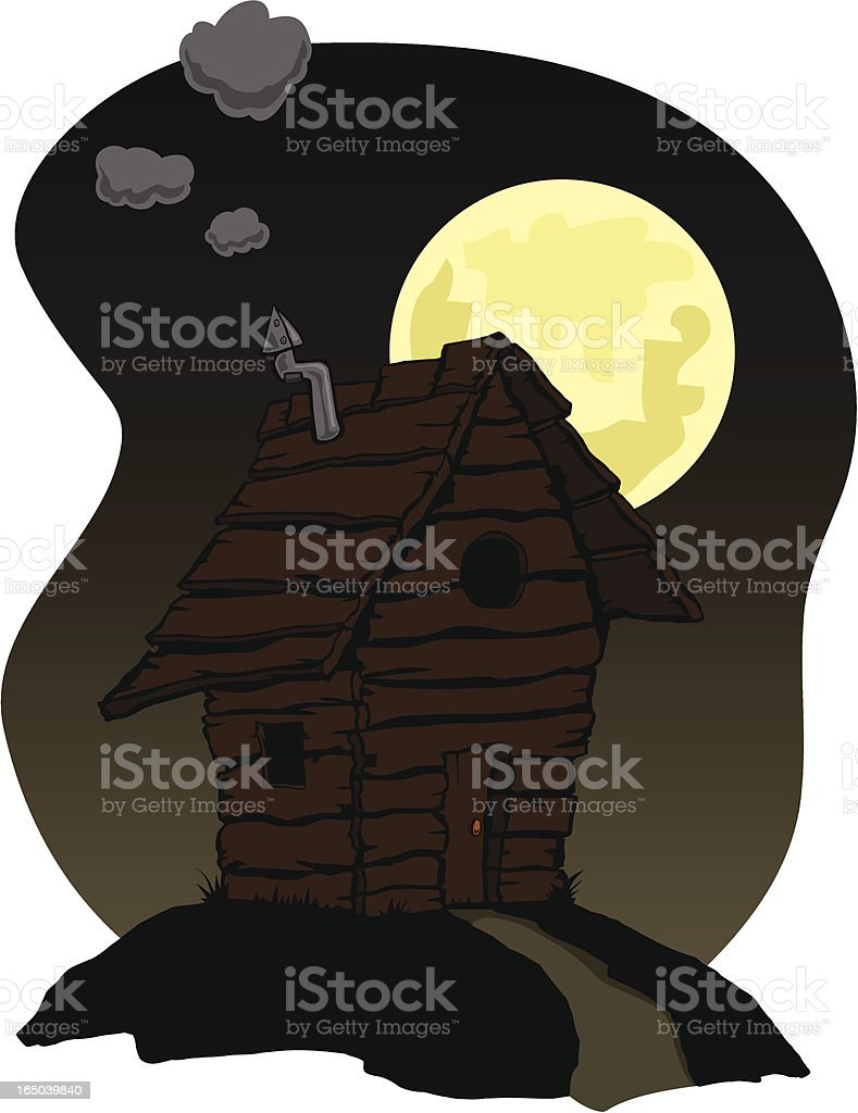 Little Shack on a Hill at Night royalty-free stock vector art