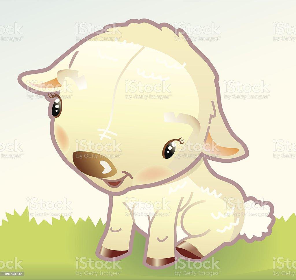 little sheep on grassland. royalty-free stock vector art