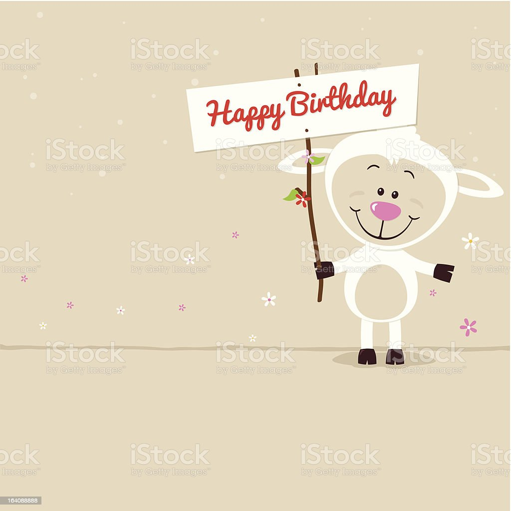 Little sheep with signboard royalty-free stock vector art