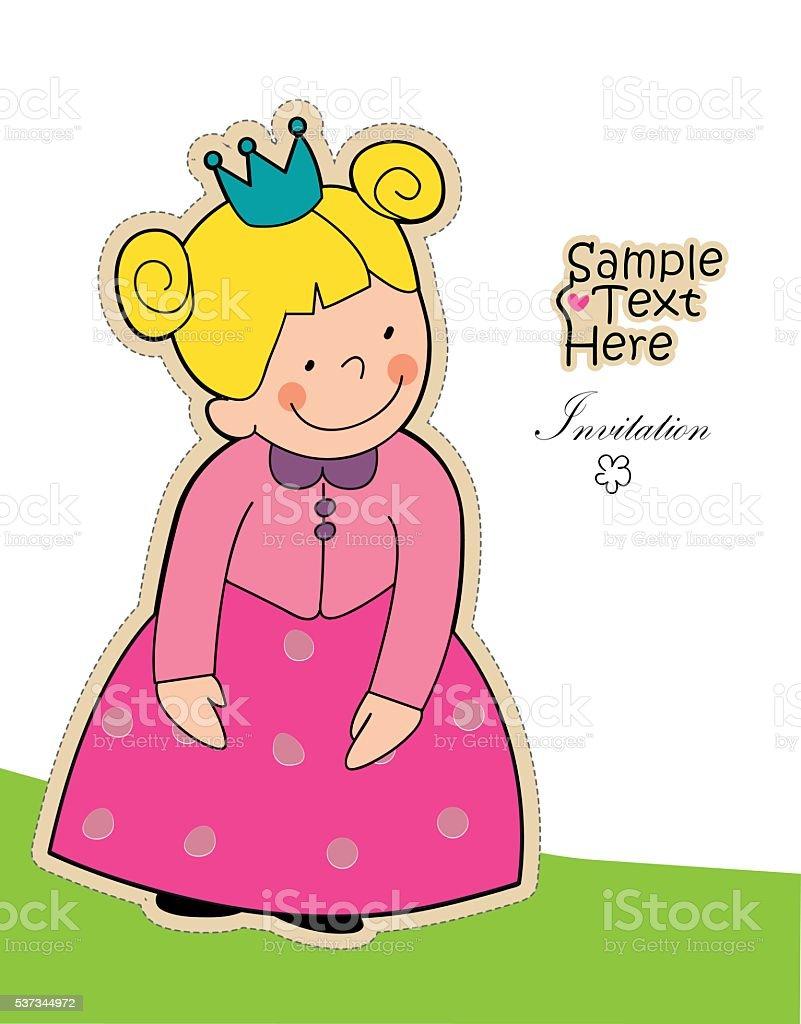 Little shy girl vector art illustration