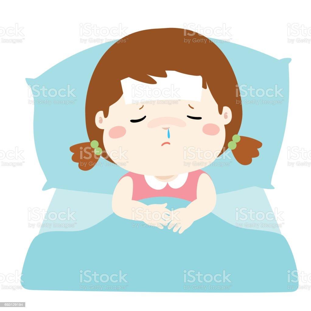 침대 만화 벡터에서 작은 아픈 소녀 일러스트 693129194  iStock