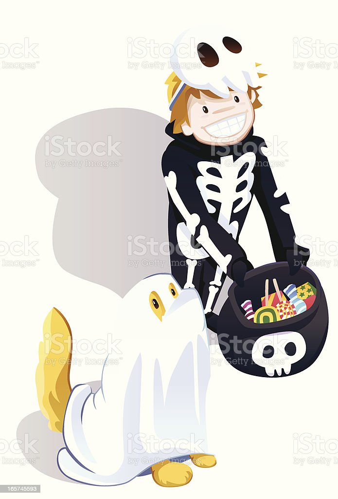 Little Skeleton and Ghost Dog royalty-free stock vector art