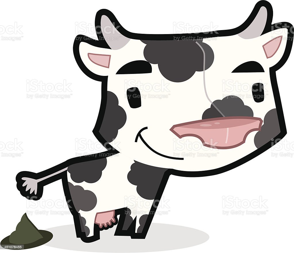 little smiling cow (with cowpat). royalty-free stock vector art