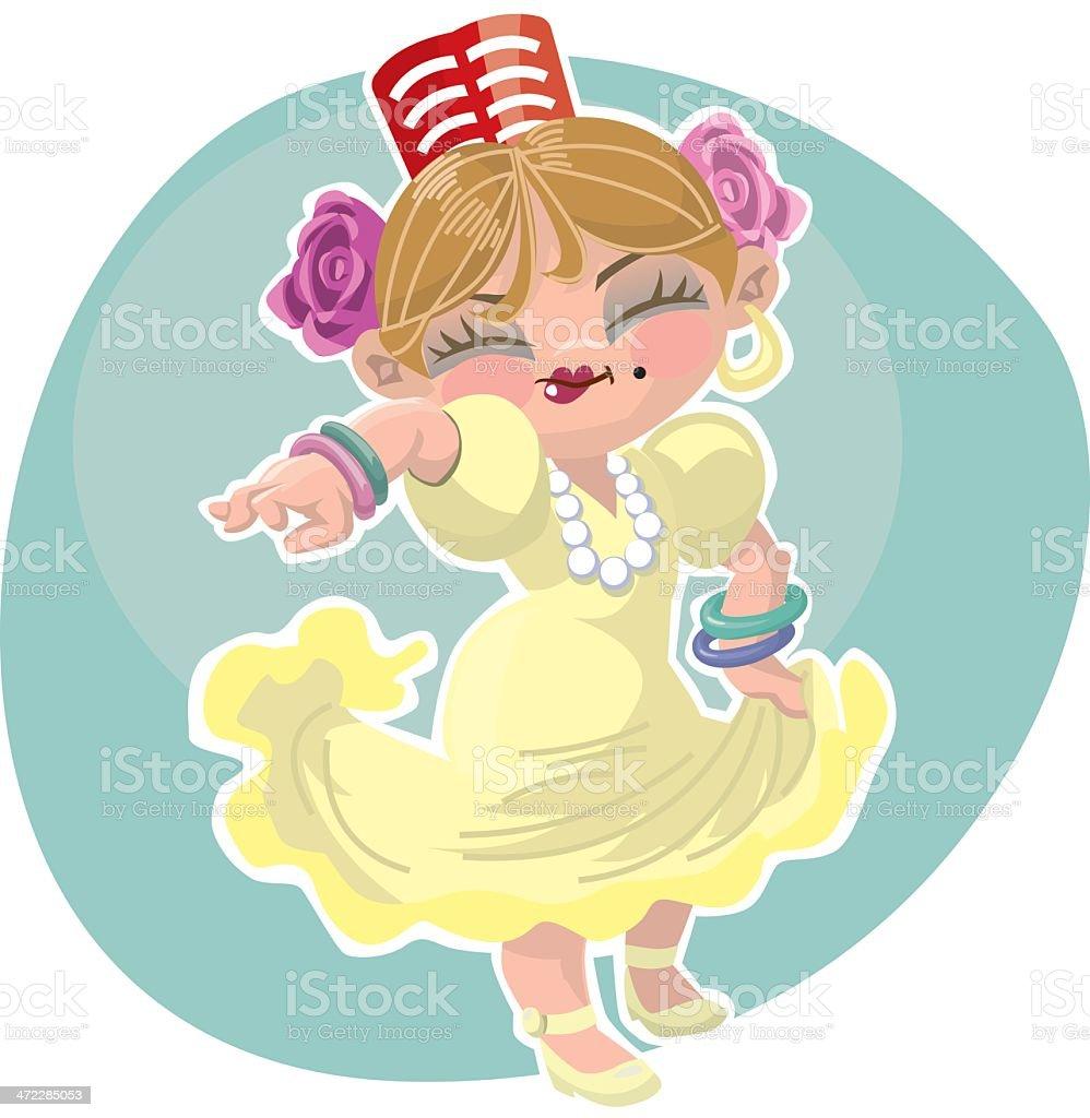 little spanish dancer royalty-free stock vector art