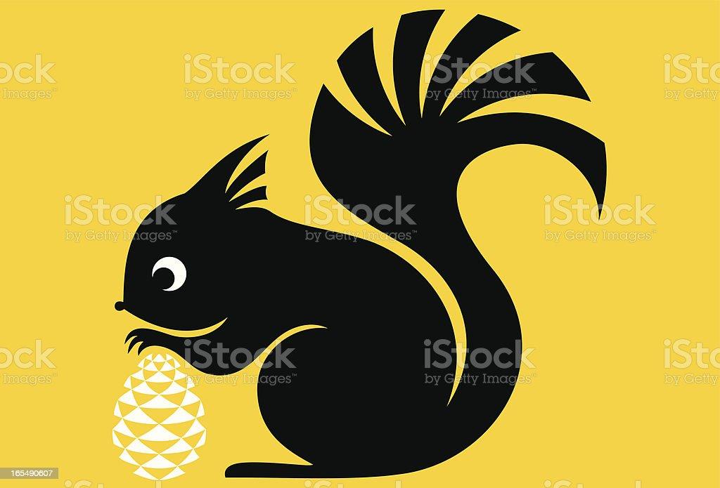 Little Squirrel & Pine Cone vector art illustration
