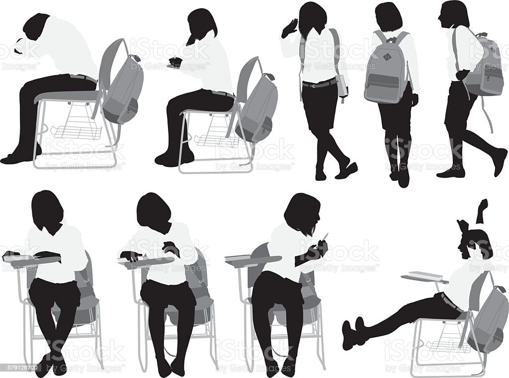Little student in various actions vector art illustration