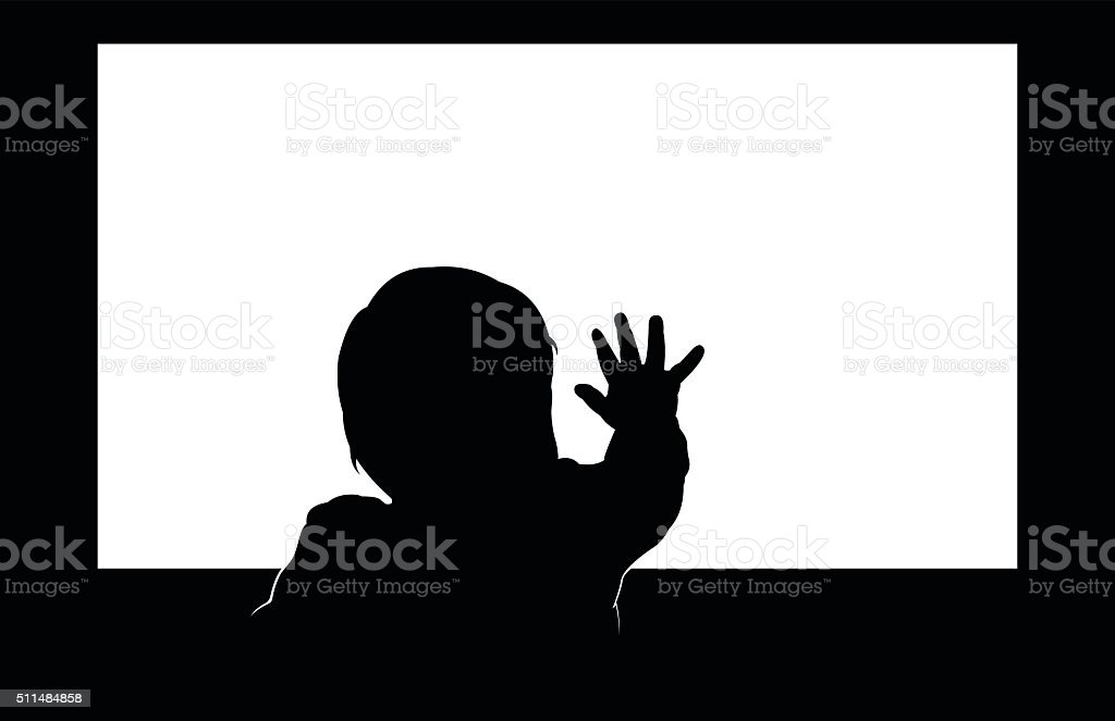 Little toddler touching blank television screen with his hand vector art illustration