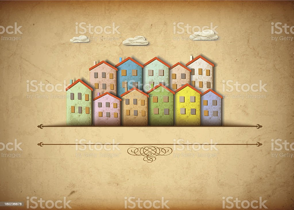 Little town made of old paper vector art illustration