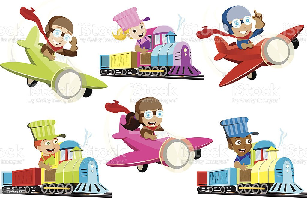Little Train Conductors and Pilots vector art illustration