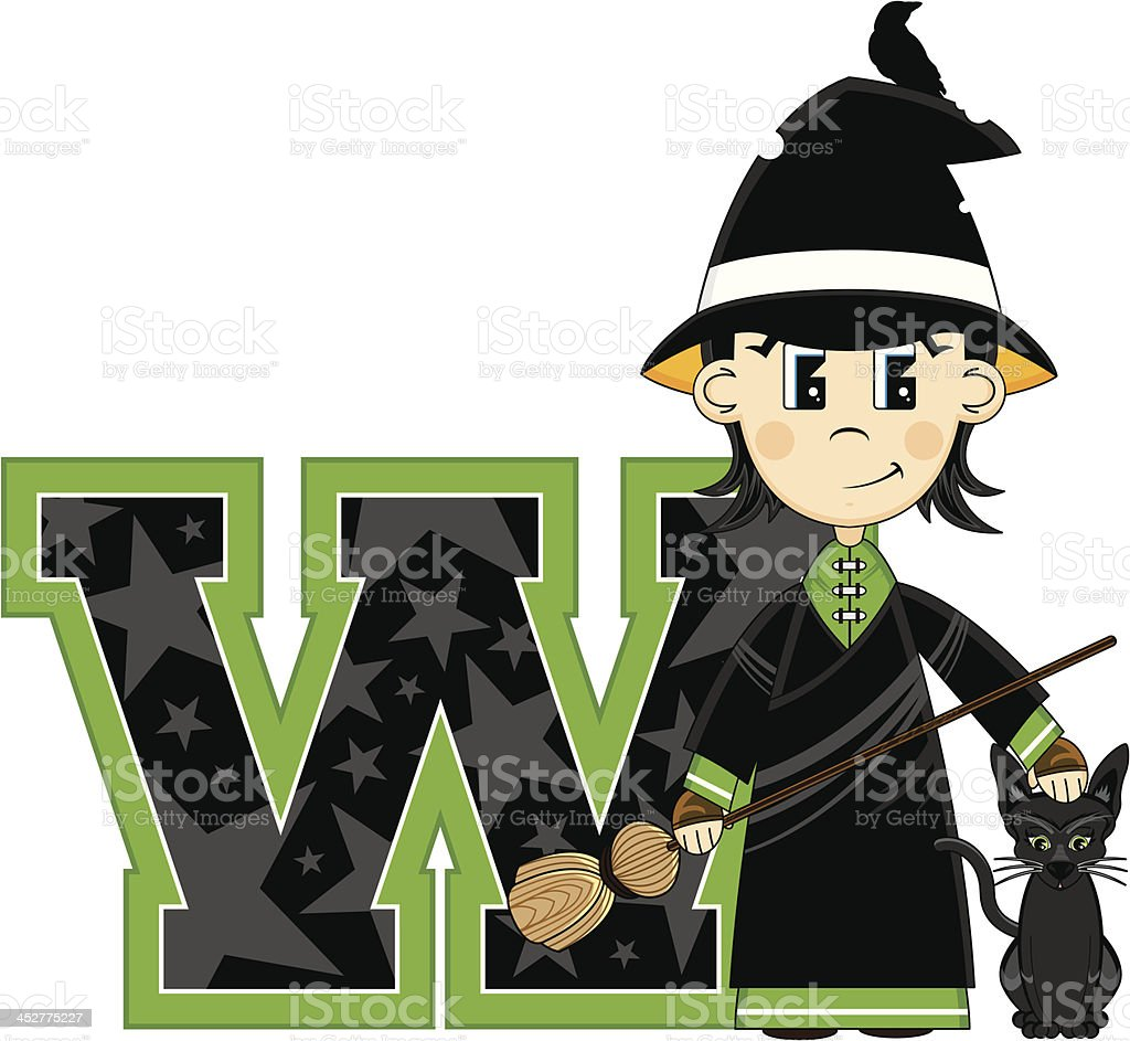 Little Witch & Cat Learning Letter W royalty-free stock vector art