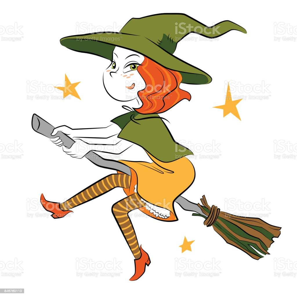 Little witch flying on the broom vector art illustration