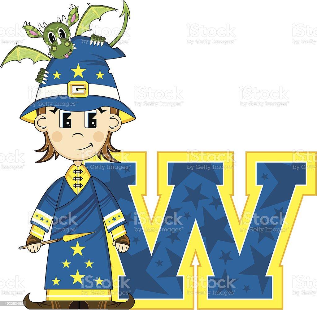 Little Wizard & Dragon Learning Letter W royalty-free stock vector art