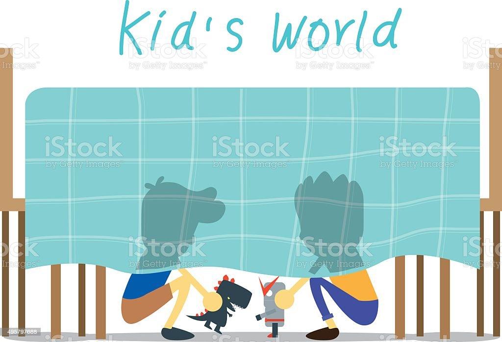 Little world of kids. vector art illustration