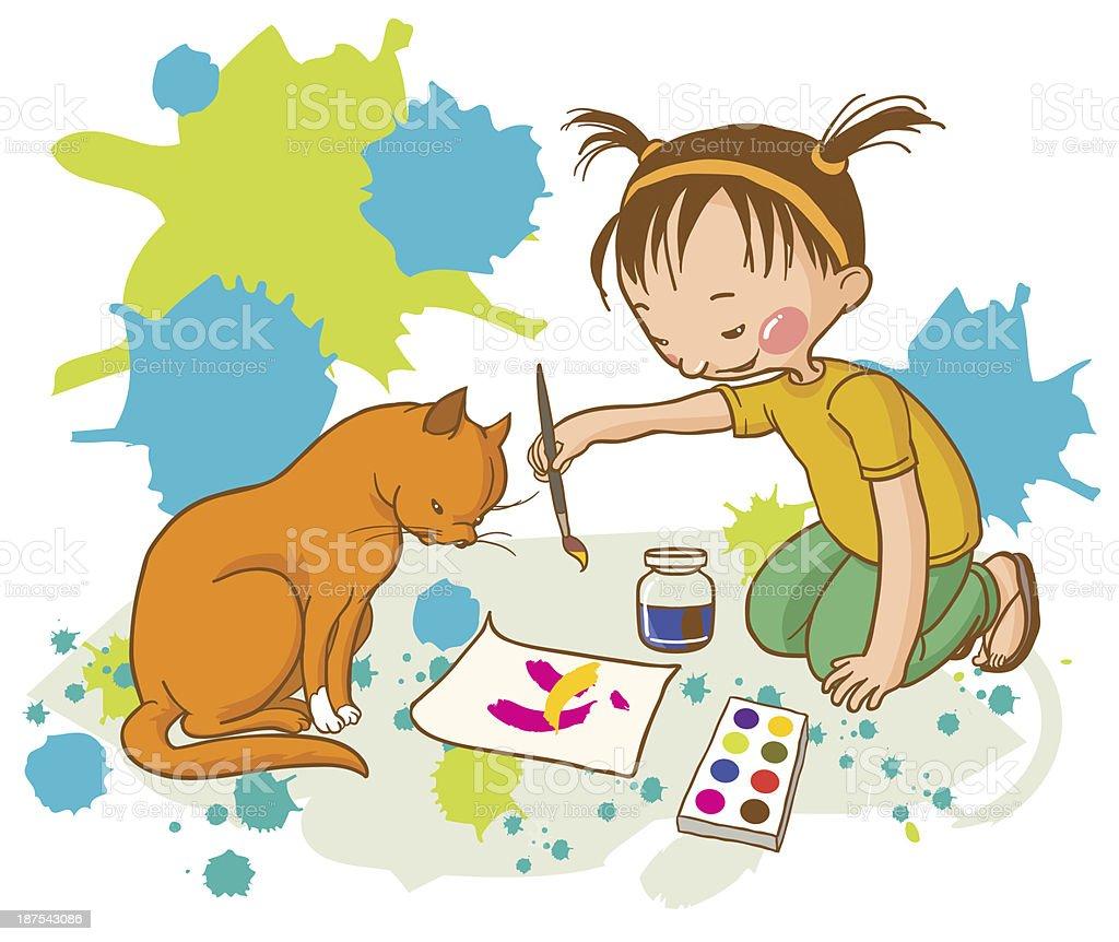 Little_Girl_Painting_Red_Cat_School_Activities vector art illustration