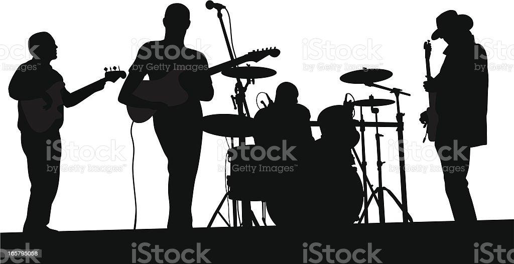Live Band Vector Silhouette vector art illustration