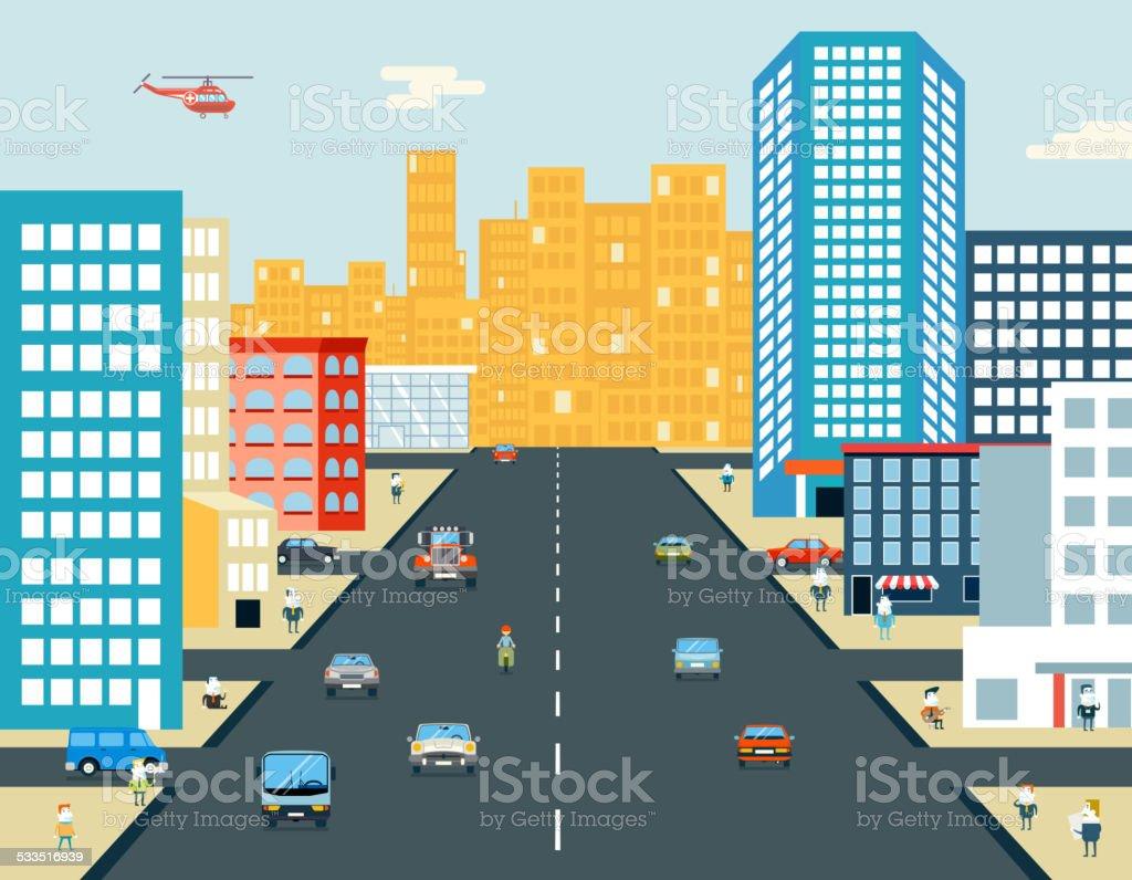 Live City Street Vector Illustration vector art illustration