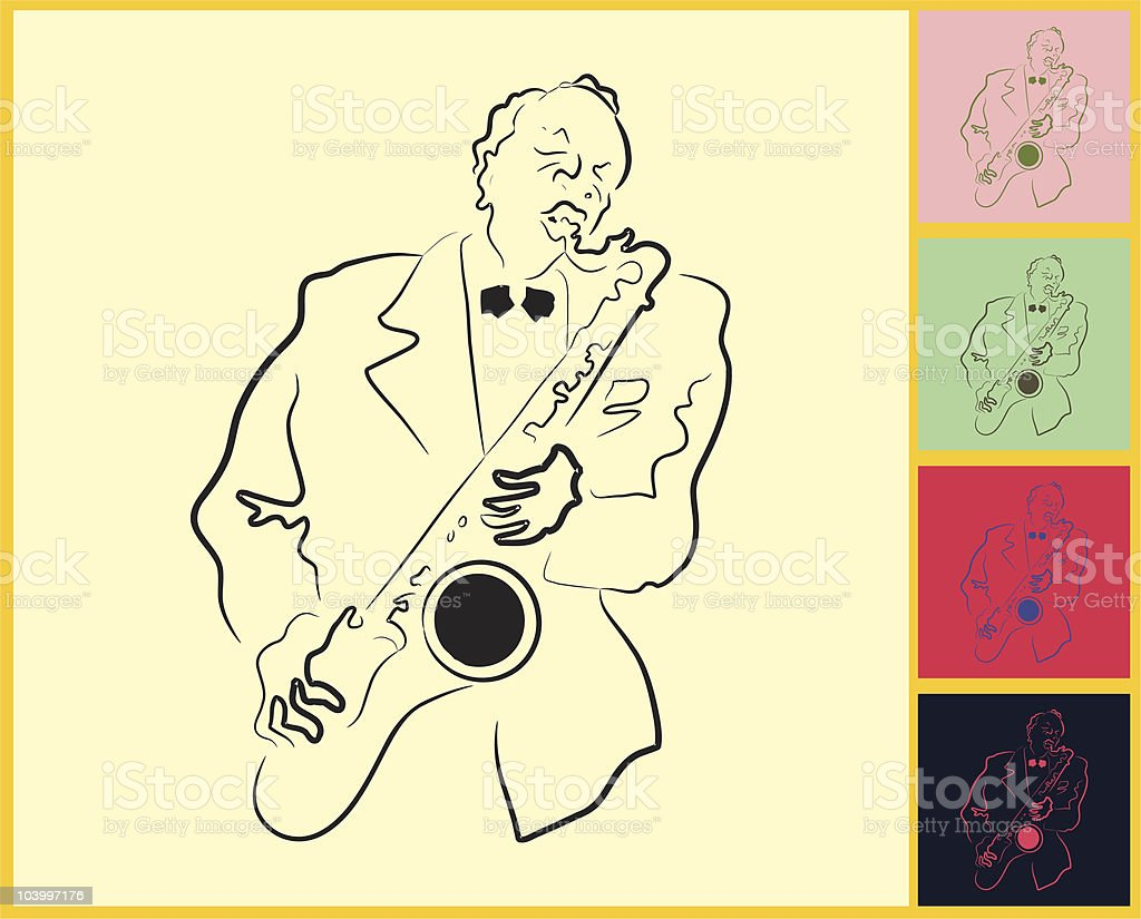 Live Jazz & Blues on post it note royalty-free stock vector art