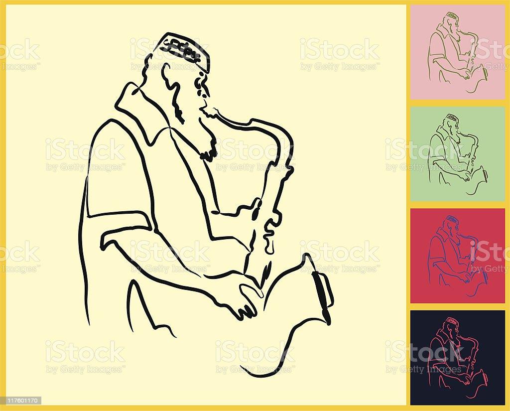 Live Jazz & Blues vector art illustration
