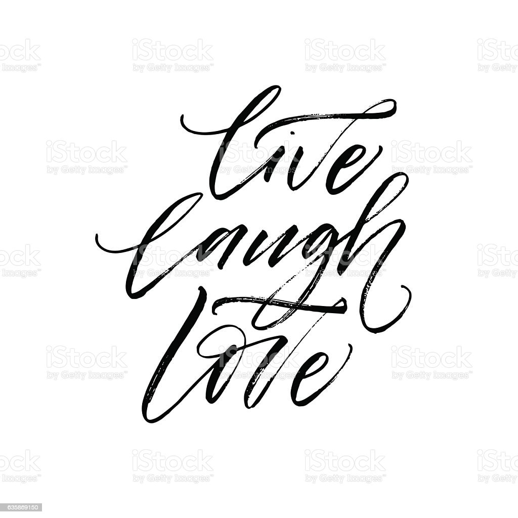 Live, laugh, love postcard. vector art illustration