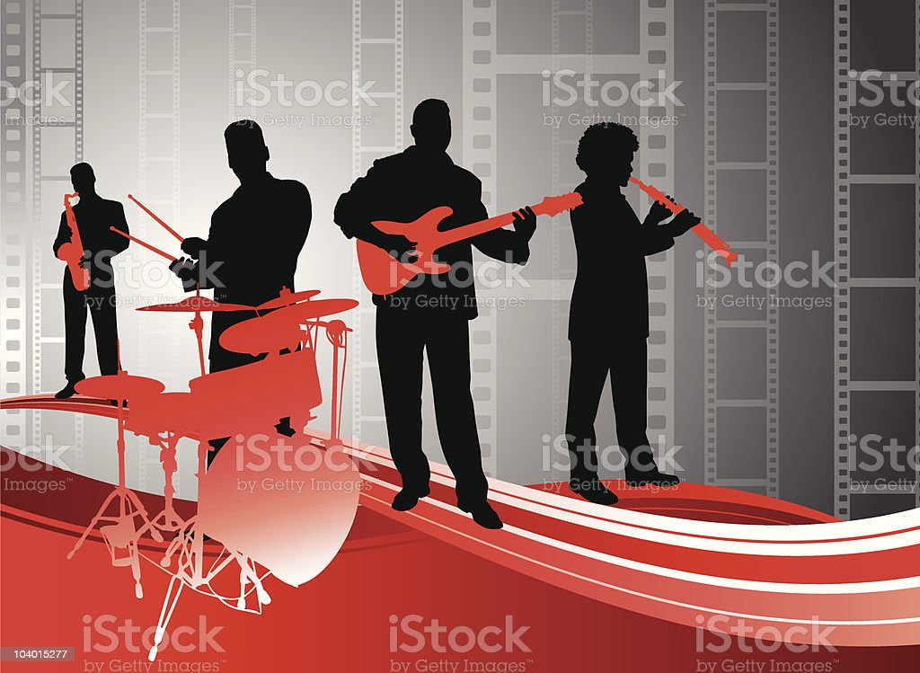 live music band on film strip background royalty-free stock vector art