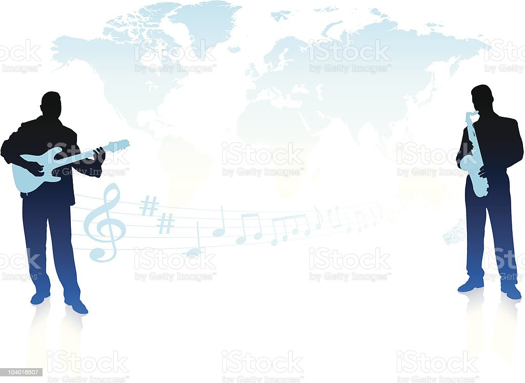 Live music band with world map background royalty-free stock vector art