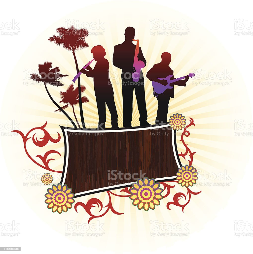 live music group on abstract tropical background royalty-free stock vector art