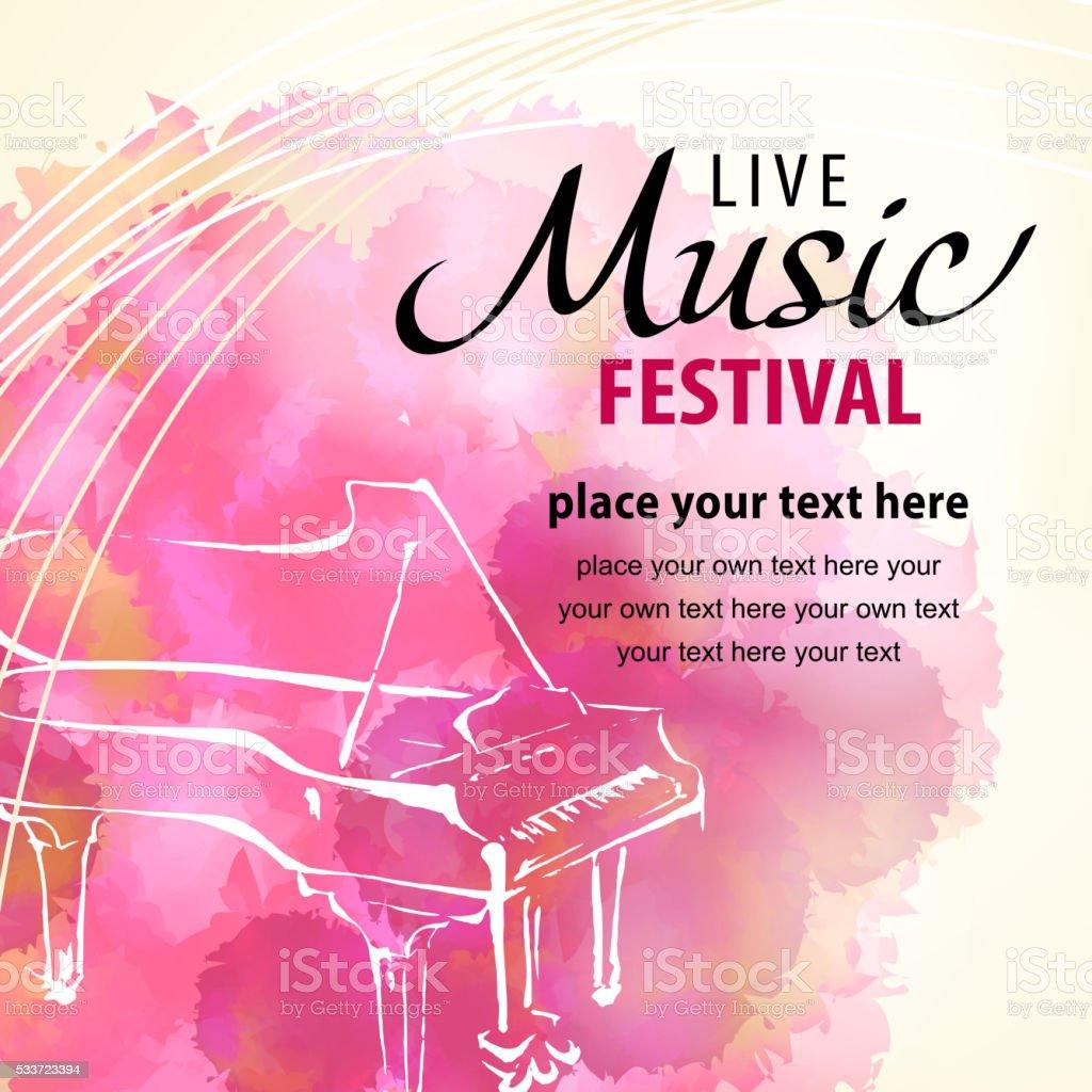 Live Music Piano vector art illustration