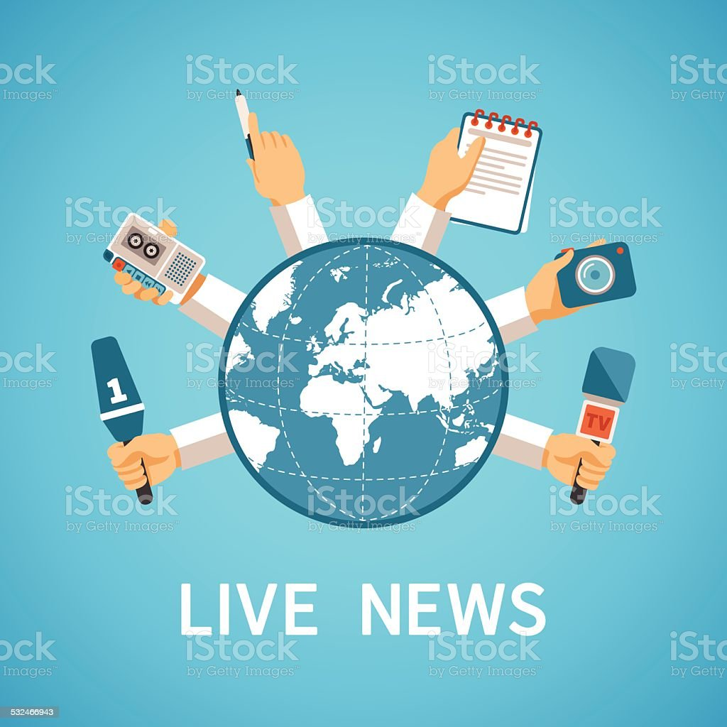 Live news vector concept in modern flat style vector art illustration