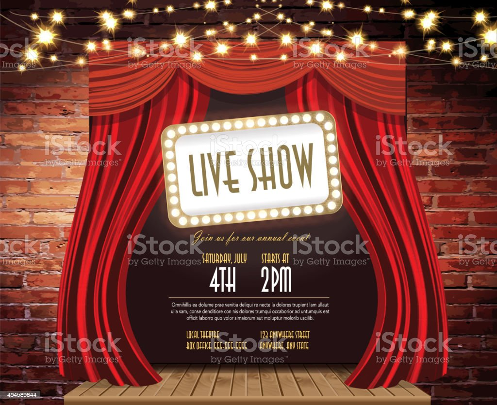 Live show Stage Rustic brick wall,  string lights, open curtains vector art illustration