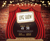 Live show Stage Rustic brick wall,  string lights, open curtains
