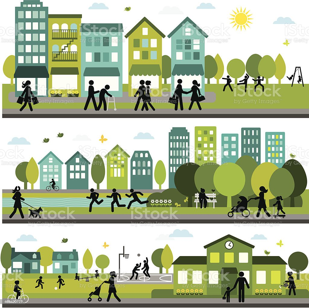 Lively and active city vector art illustration