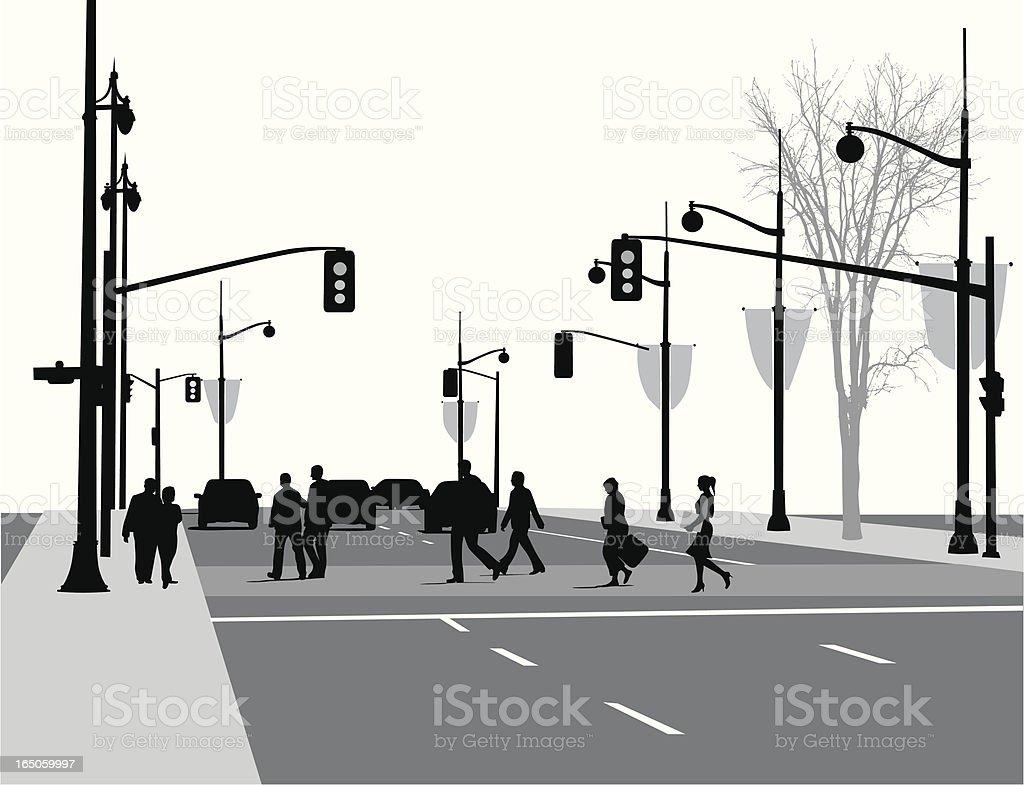 Lively Street Vector Silhouette vector art illustration