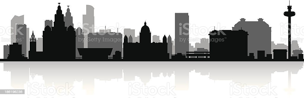 Liverpool England city skyline vector silhouette vector art illustration