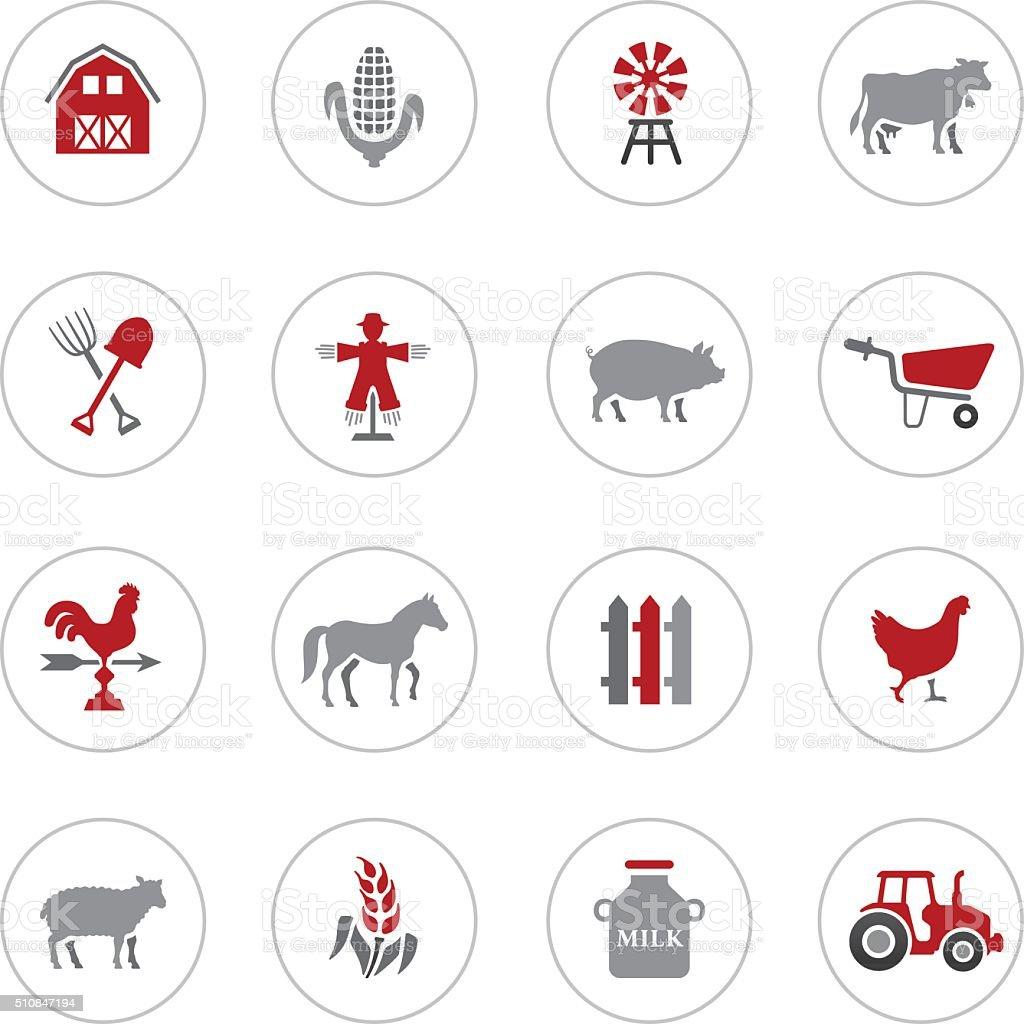 Livestock Icons vector art illustration