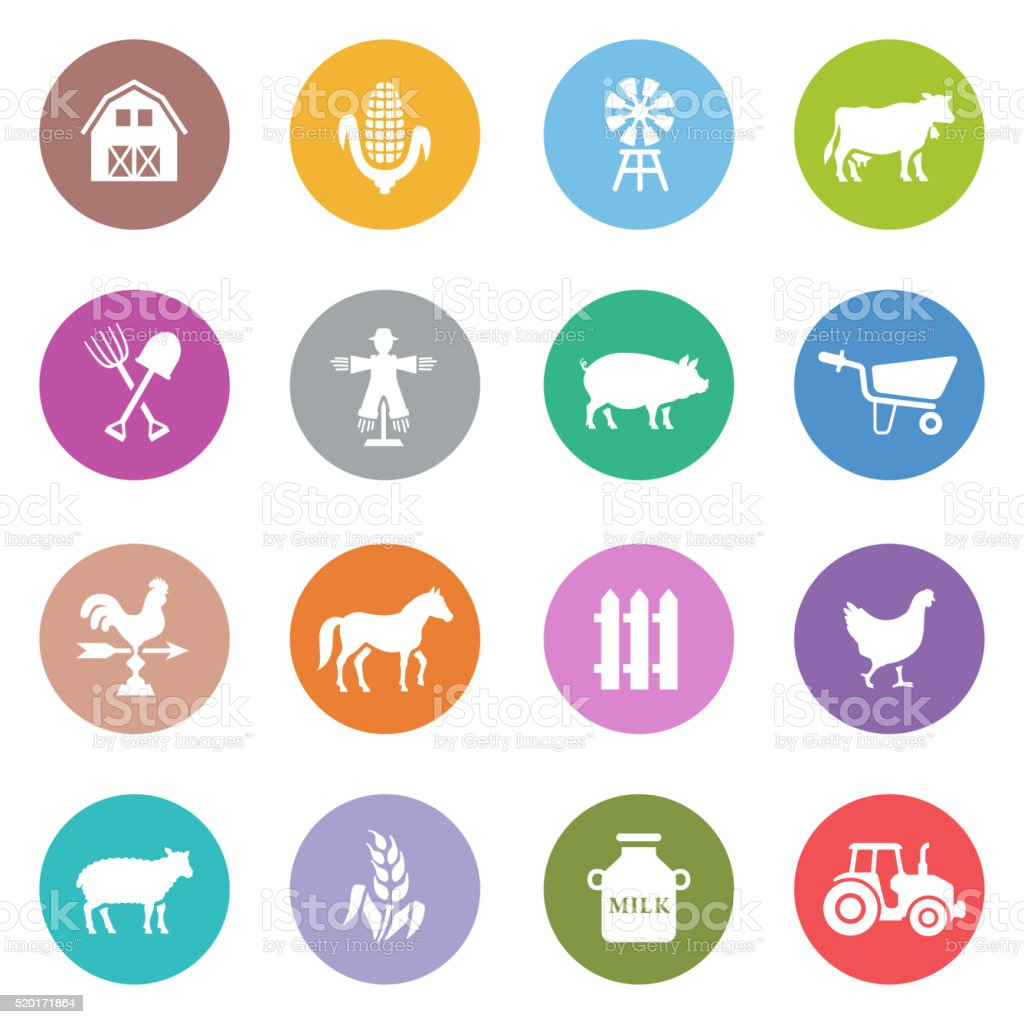 Livestock Icons vector art illustration