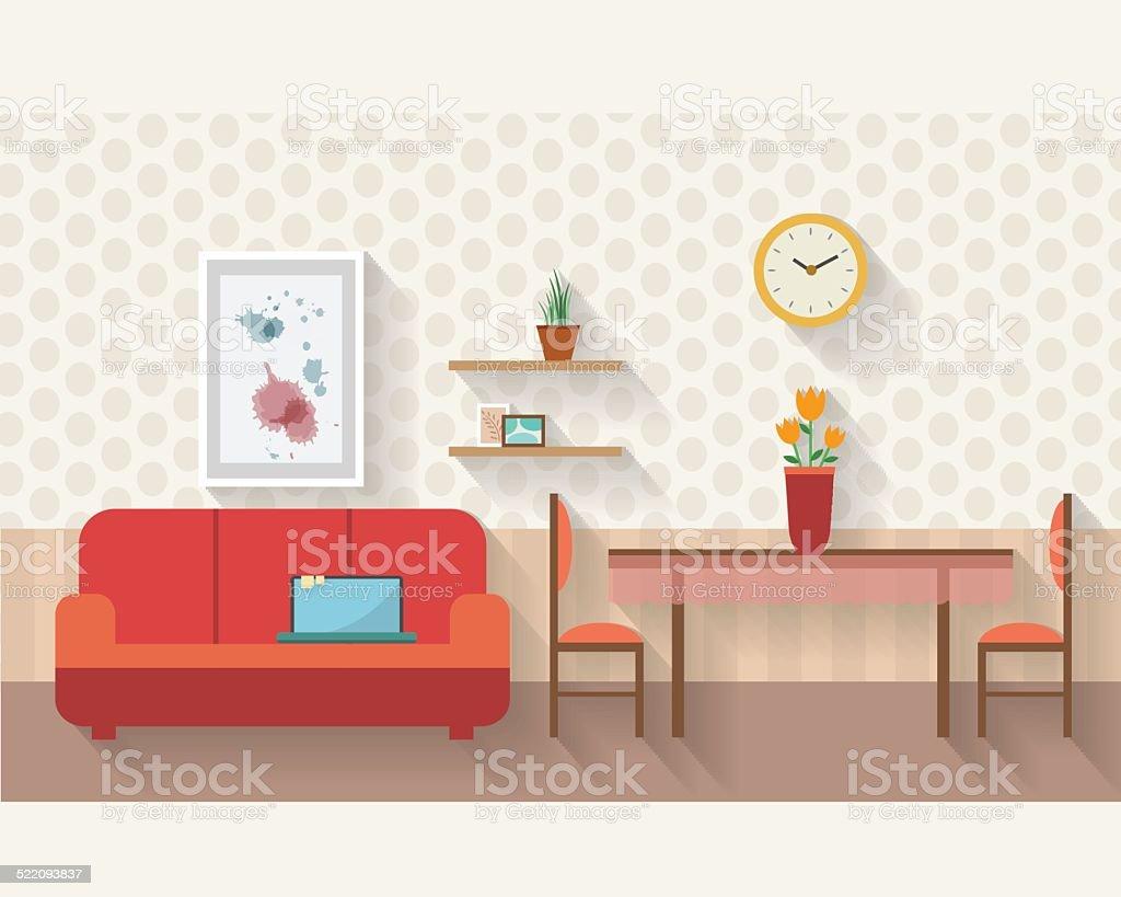 거실 및 식당 평편 일러스트 일러스트 522093837  iStock
