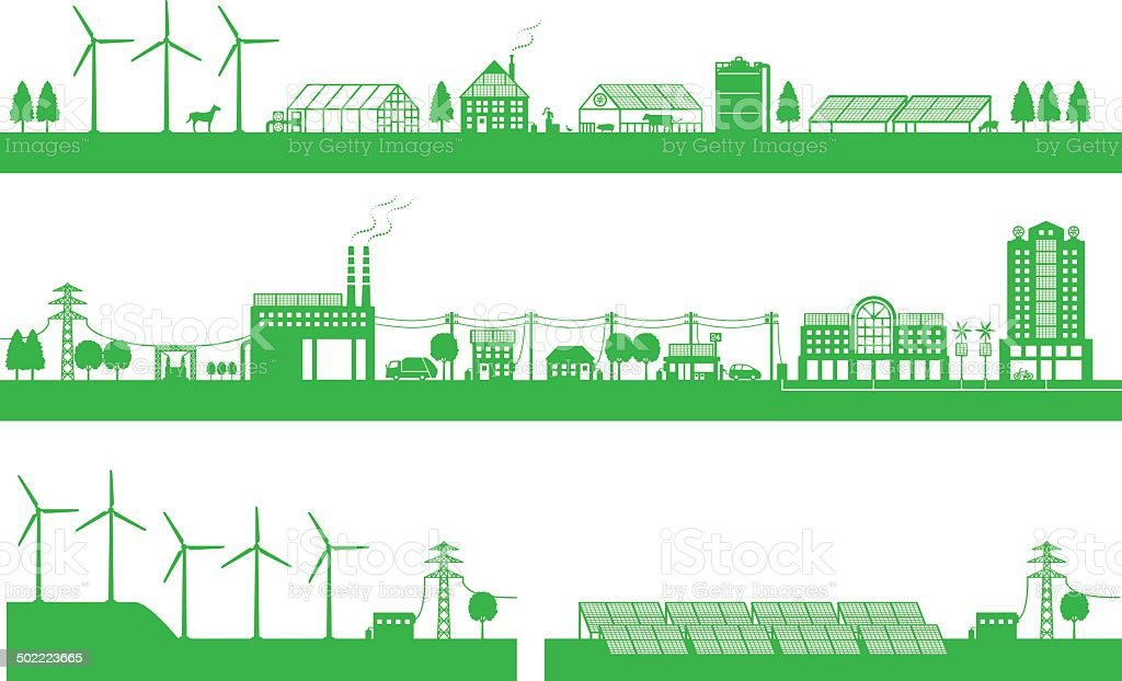 Living between city and countryside and playability energy vector art illustration