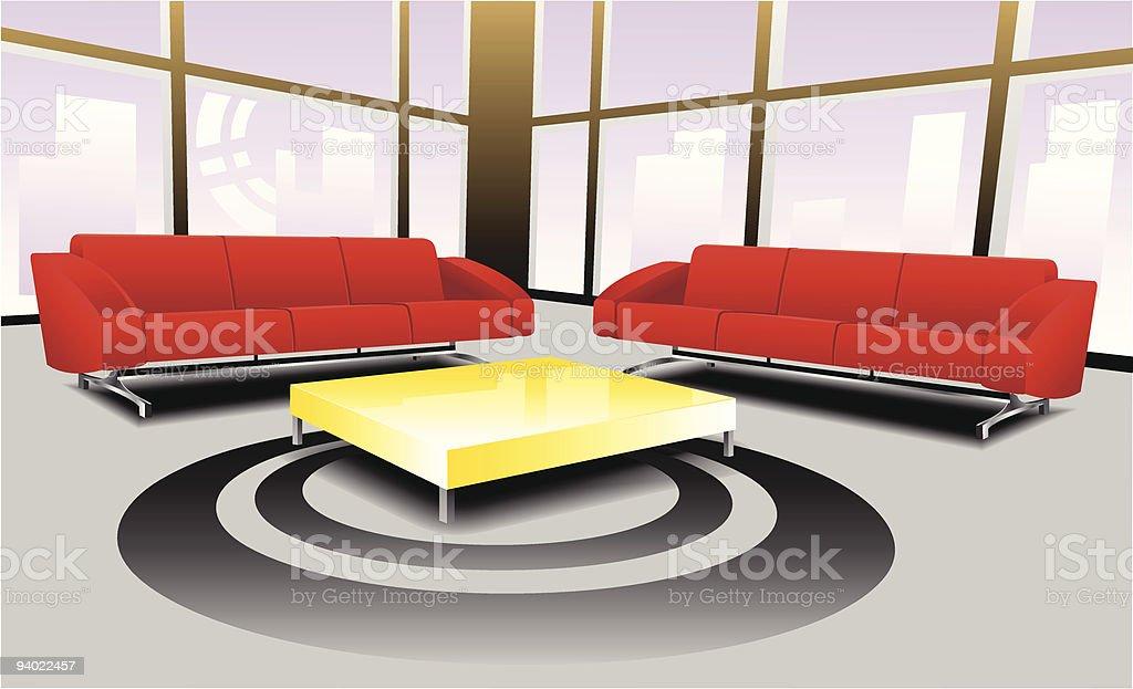 Living room area vector art illustration