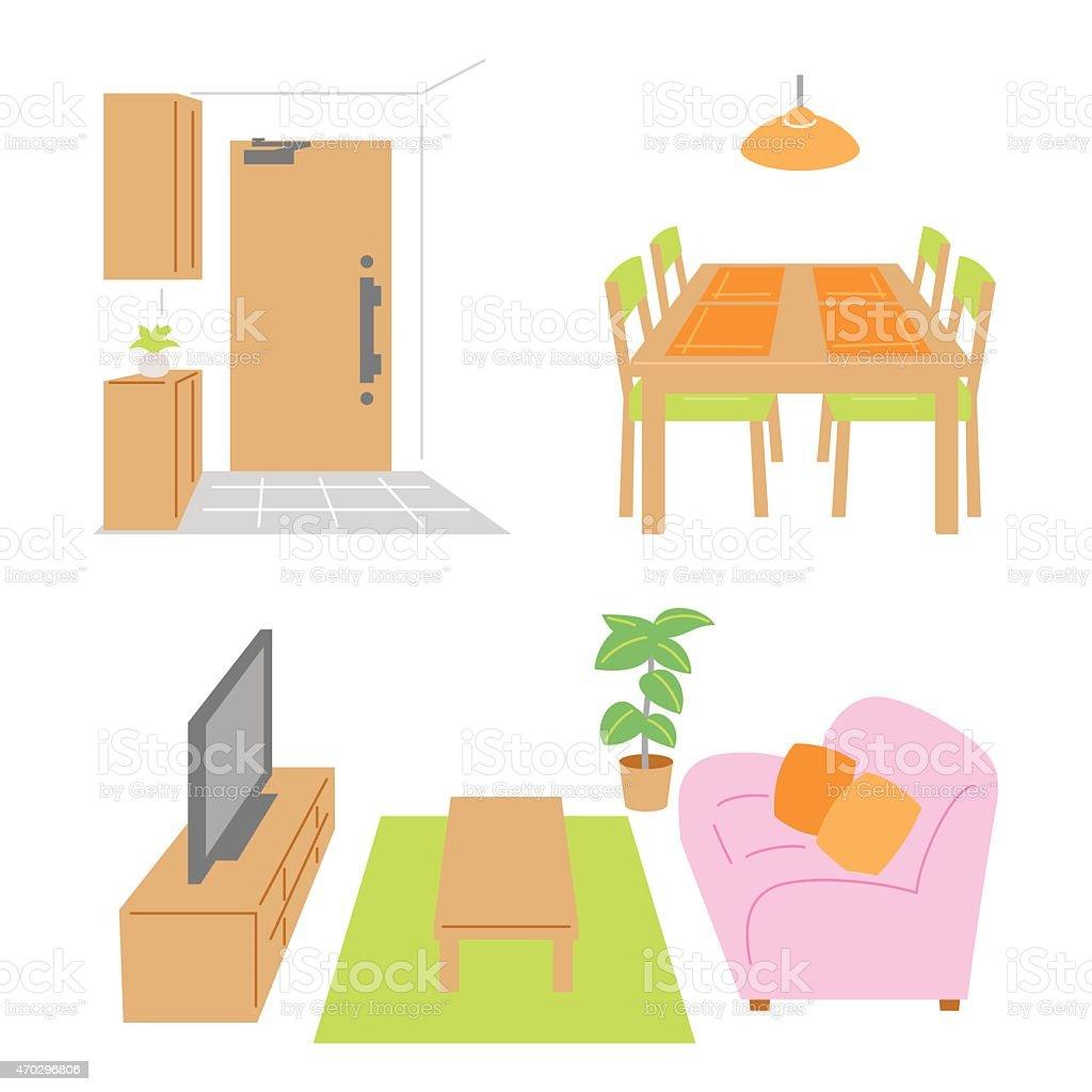 Living room, dining room, door vector art illustration