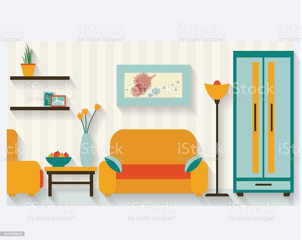 Living Room Flat Illustration Royalty Free Stock Vector Art